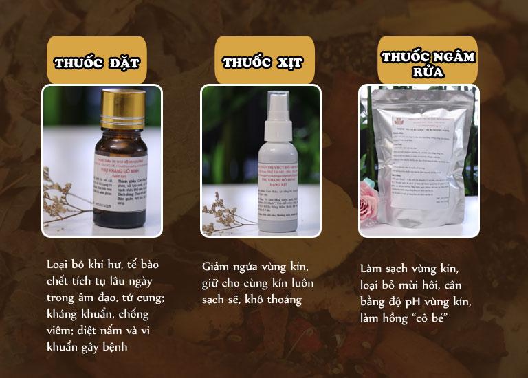 Thuốc đặt, thuốc xịt, thuốc ngâm rửa Phụ Khang Đỗ Minh cho tác dụng trị bệnh từ bên ngoài