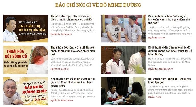 Xương khớp Đỗ Minh được báo chí đưa tin
