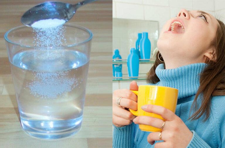 Súc miệng bằng nước muối là cách đơn giản và hiệu quả nhất trị chứng lưỡi trắng có mùi hôi
