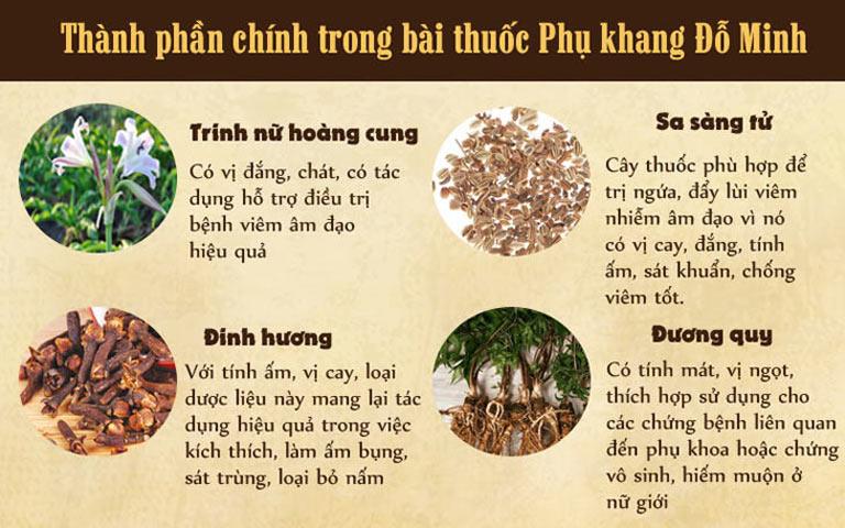 Bài thuốc Phụ Khang Đỗ Minh có thành phần từ những loại thảo dược thiên nhiên quý hiếm