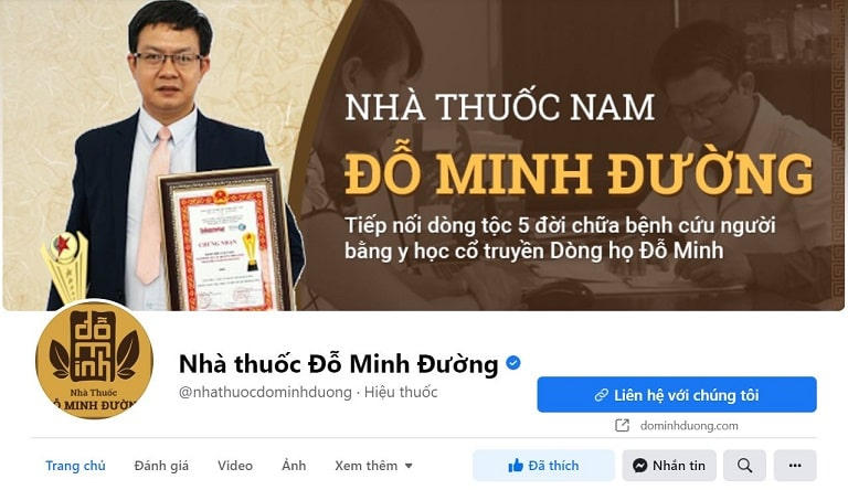 Hình ảnh fanpage chính thức Nhà thuốc Đỗ Minh Đường