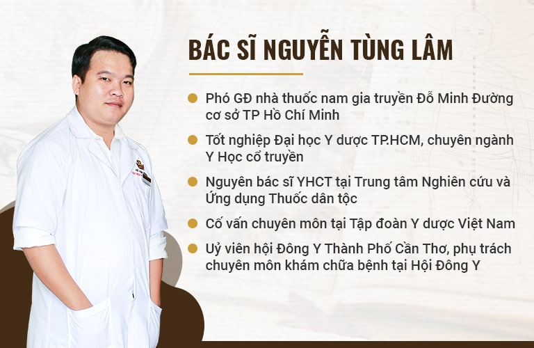 Lương y, bác sĩ Nguyễn Tùng Lâm có nhiều năm kinh nghiệm trong khám chữa bằng phương pháp YHCT