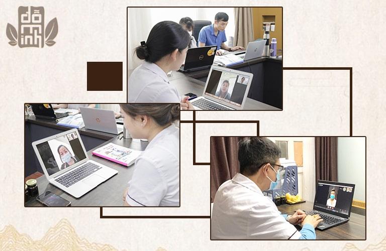 Các bác sĩ thực hiện tư vấn online qua video call