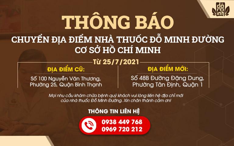 Nhà thuốc Đỗ Minh Đường đổi địa chỉ cơ sở hoạt động tại Tp.HCM