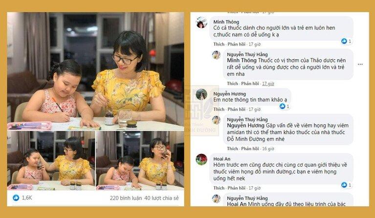 Bài đăng của hot mom Thúy Hằng chia sẻ về bài thuốc viêm họng Đỗ Minh