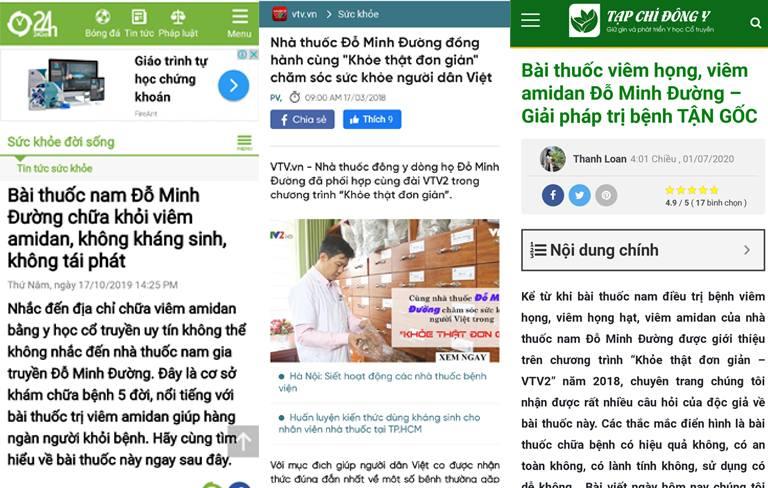 Báo chí đưa tin về bài thuốc viêm họng Đỗ Minh Đường